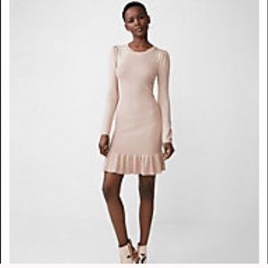Express Pink Fancy Metallic Ruffle Sweater Dress